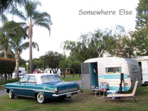 HR Holden towing a 1967 Modern caravan which was built in Western Australia.