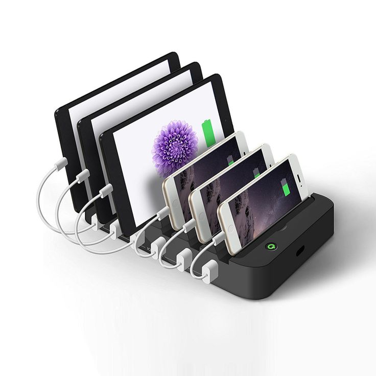 JZBRAIN Universal 6 Port 2.4A USB Dock Charging Station - All Black #JZBRAIN