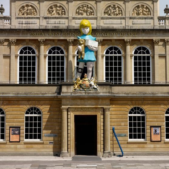 Hirst's monumental 'Charity' can currently be seen on the balcony of the Royal West of England Society in Bristol