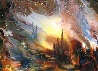 Fantasy encaustic art image created by Michael Bossom using a hot air gun.