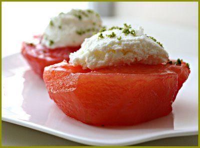 Ayva Tatlisi (Quince Dessert) Recipe http://www.yemek-tarifi.info/english/recipe.php?recipeid=26