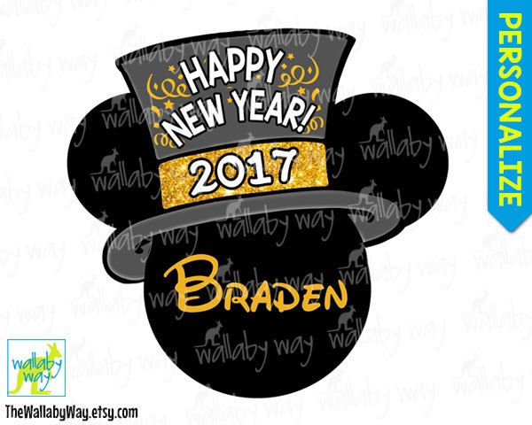 new years eve 2019 mickey head printable iron on transfer or use as clip art diy disney shirt gold happy new year mickey fireworks red mickey minnie