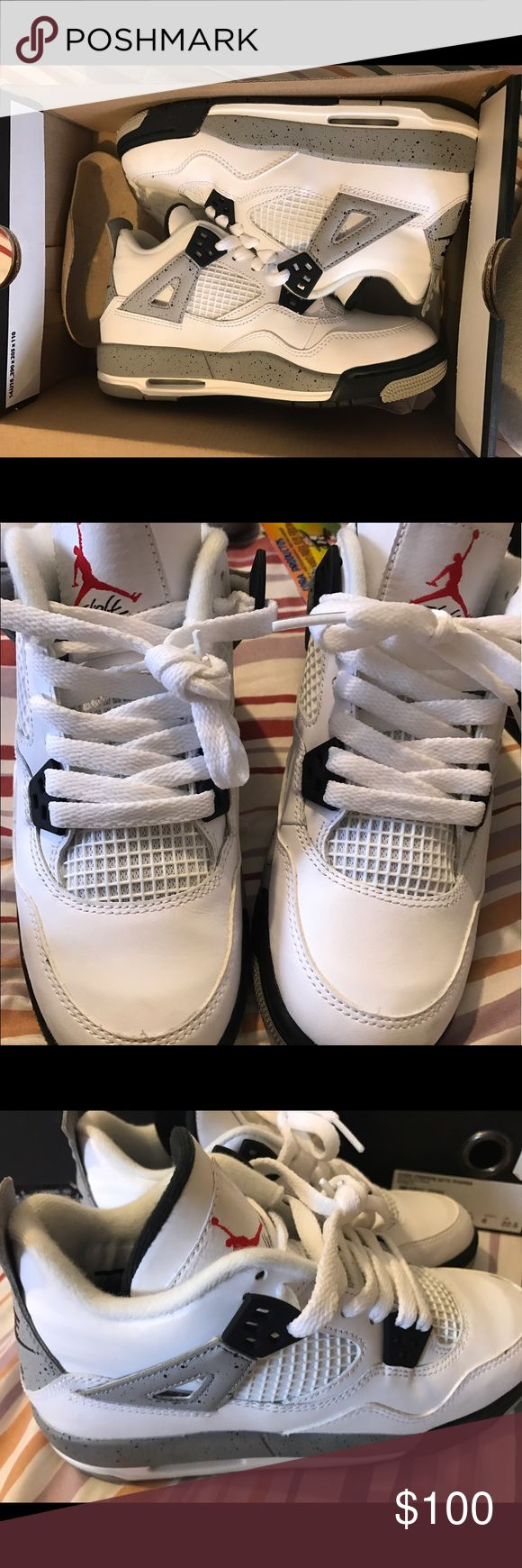 Cement Jordan 4s Still in their box , used only once. Size 3.5. Jordan Shoes Sneakers