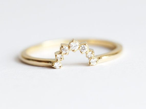 White Diamond Crown Ring. This ring can be paired with your round, pear, oval, emerald diamond engagement ring. You can pair this one with this ring: