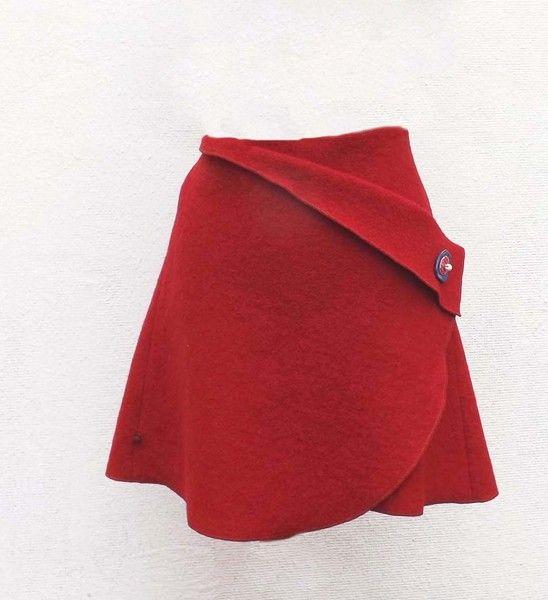 Wende- & Wickelröcke - Cacheur Wickelrock Walkwolle Rock rot - ein Designerstück von KalyanaMitra bei DaWanda
