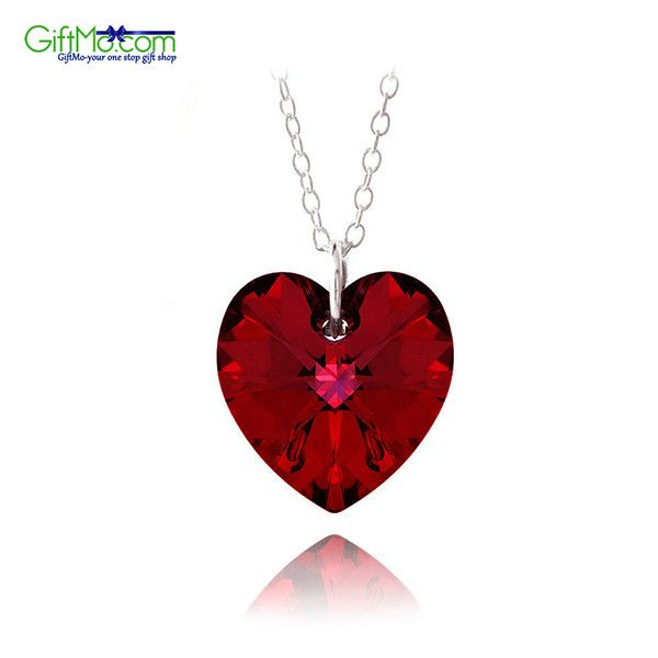 925 Silver Ruby Red Swarovski Elements Heart Necklace 18""