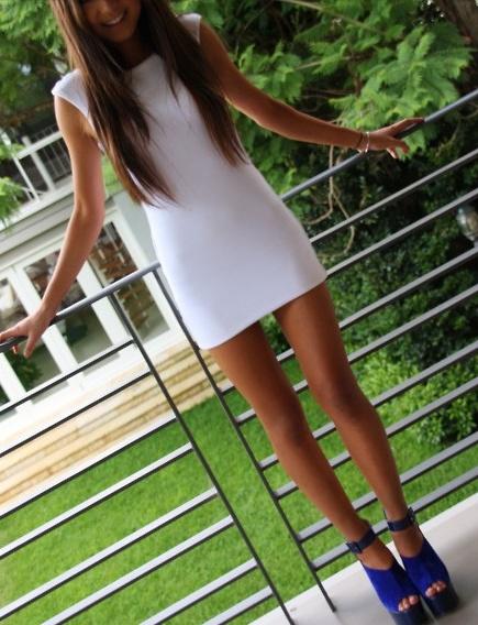 white mini dress + cobalt blue mary janes