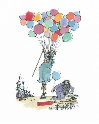 Mrs Twit being stretched . Quentin Blake