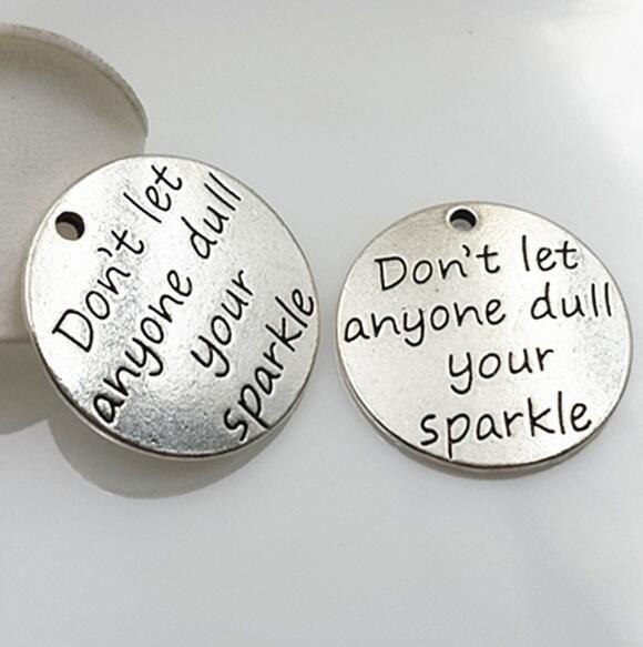 20 قطعة/الوحدة 23 ملليمتر العتيقة الفضة معدن سحر لا تدع شخص ممل لديك البريق للمجوهرات صنع الأبجدية breloque