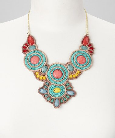 Love this Turquoise & Pink Beaded Bib Necklace by ZAD on #zulily! #zulilyfinds