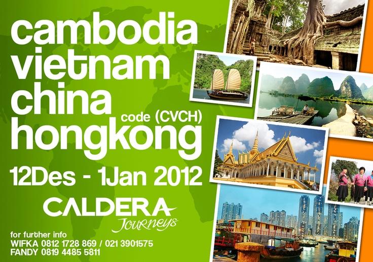 BACKPACKER CAMBODIA TO HONGKONG  (20 Desember 2012 – 1 Januari 2013)    Price : Rp 7.500.000    Harga termasuk :  •Tiket pesawat JKT – KL – Siemp Riep – Hongkong – Singapore – Jkt  •Accommodation based on dormitori or triple sharing  •Seluruh transportasi darat dari satu kota ke kota lainnya  •Tour leader  •Airport tax    wifka@calderaindonesia.com / fandi@calderaindonesia.com    Telp. (021) 390 1575 ext 210