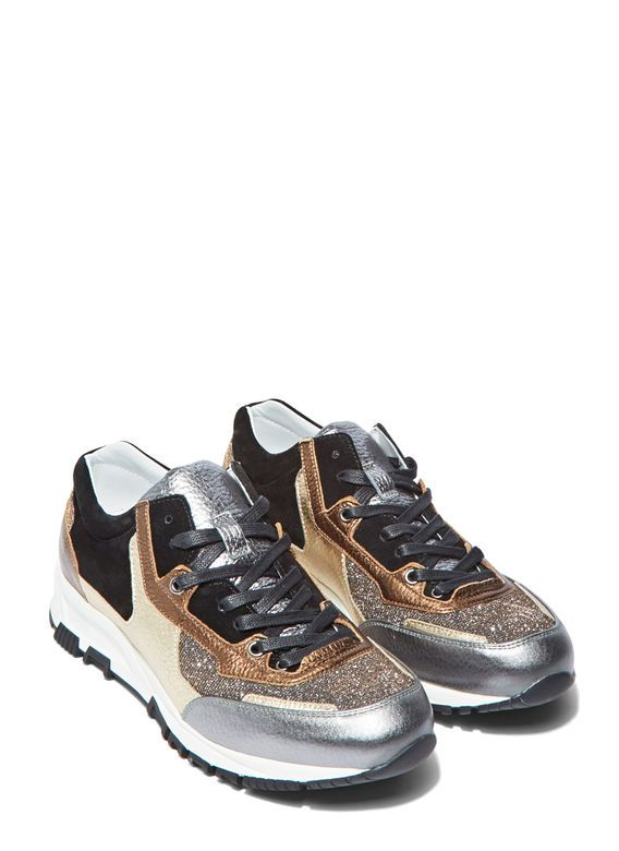 Women's Trainers - Shoes | Shop Now at LN-CC - Metallic Leather Panelled Running Sneakers