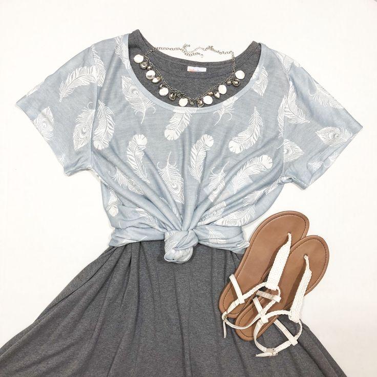 LulaRoe Classic Tee knotted over a Carly dress. www.facebook.com/lularoewithdemi #lularoe #lularoewithdemi #lularoefashion #lularoeoutfit #lularoestyle #fashion #style #shopping #lularoeconsultant #lularoeflorida #shoplocal #lularoecarly #lularoecarlydress #lularoeclassictee