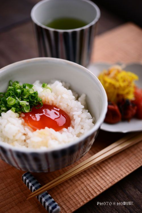 Shoyu-zuke Tamago Gohan (soy-sauce pickled egg yolk over rice)