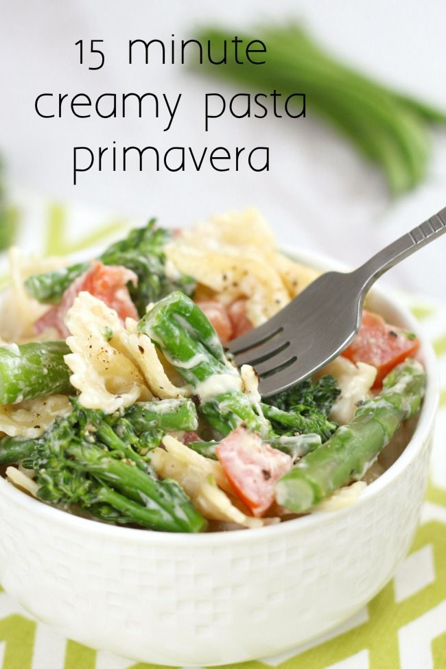 15 minute creamy pasta primavera | Recipe | Cream cheeses ...