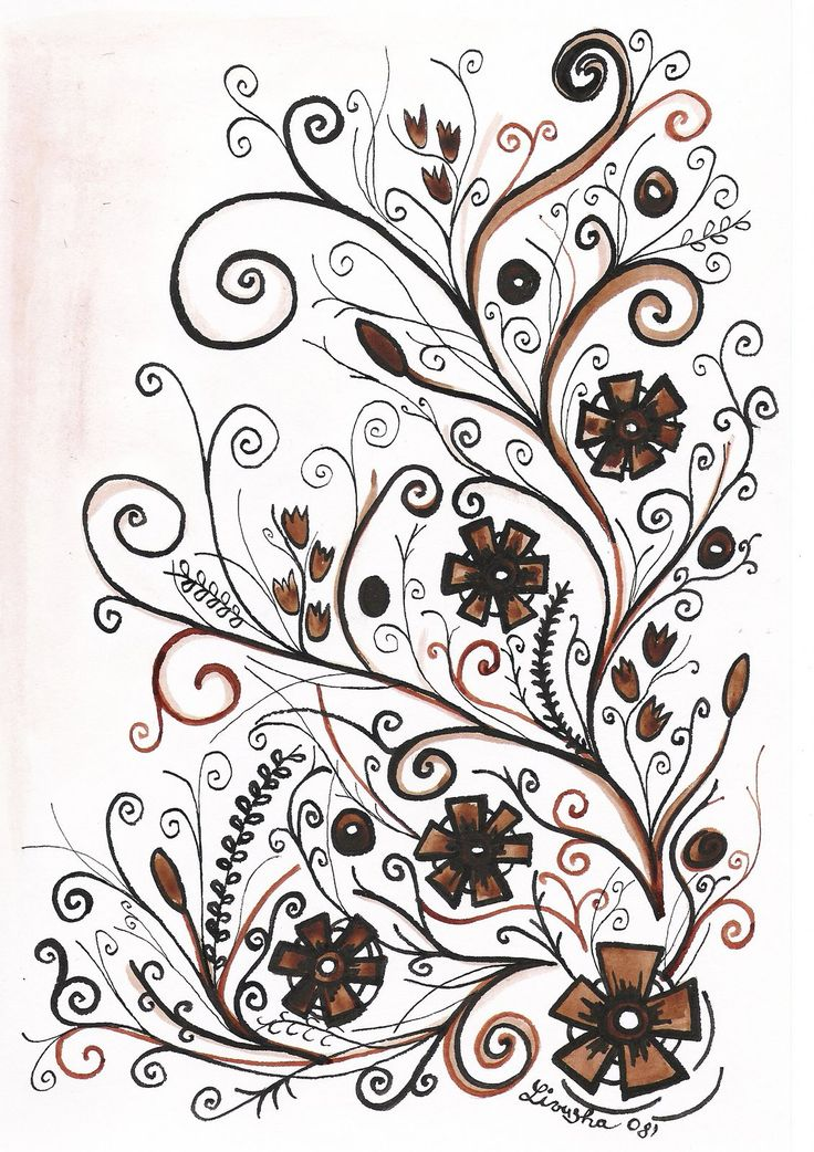 Floral doodles with flowers.