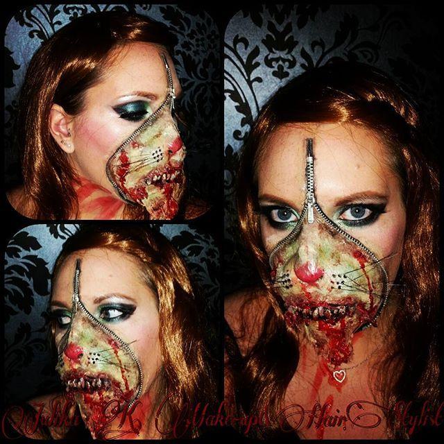 "My Zombiekitten😍😍😍 Made with Products from @kryolanofficial @essencecosmetics @sleekmakeup @maybellinejade @nyxcosmetics @benefitcosmetics  #muah #mua #makeup #makeupartist #makeupartistry #hair #hairstylist #wig #brownhair #kitten #zombiekitten #zombiekittenmakeup #zombie #zombiemakeup ""kittenmakeup #halloween #halloweenmakeup #lovemyjob #photo #photography"