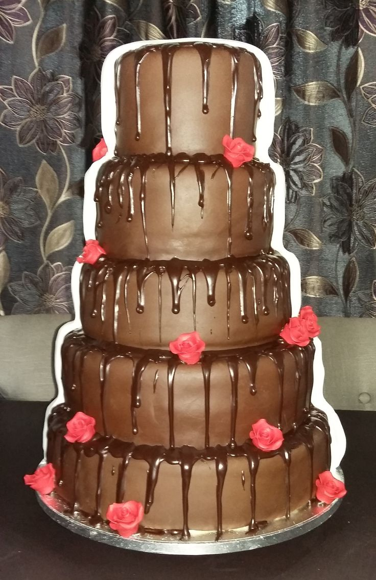 Half & Half Lace & Chocloate Wedding Cake - Back  View