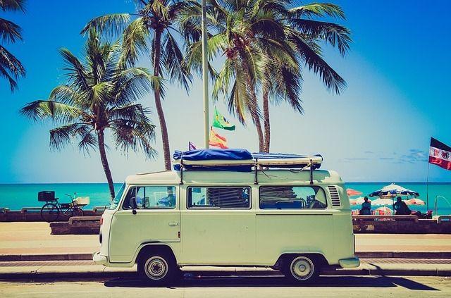 vw bus summer beach vintage trees hippie retro palm. Black Bedroom Furniture Sets. Home Design Ideas