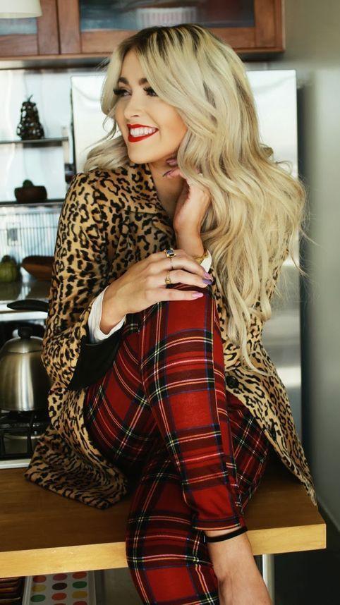 #fall #fashion / leopard print + tartan pants