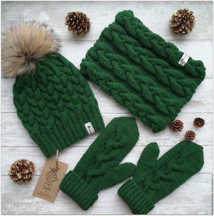Купить Набор - зеленый, шапка, снуд, варежки, варежки ручной работы, шапка вязаная, полушерсть