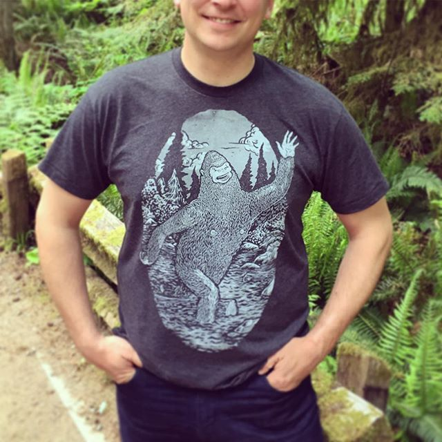 I made my Hubby show off his new 'Happy Bigfoot' t-shirt in Cathedral Grove. These t-shirts are designed & printed by talented artist, Geordan Moore, in beautiful Halifax, NS. Both the Bigfoot & Yeti designs are now in the shop.