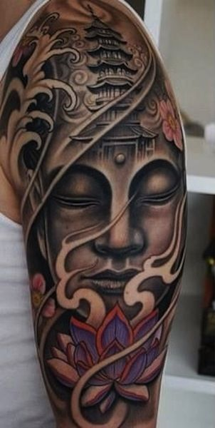 Buddhist Quotes Tattoos | Buddhist tattoos sleeve design of Buddha and temple.