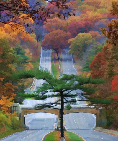October Road is one of my original works.  I think the Merritt Parkway is a beautiful road and I have travelled it countless miles.  This is my tribute to the beauty which I have witnessed via this roadway.