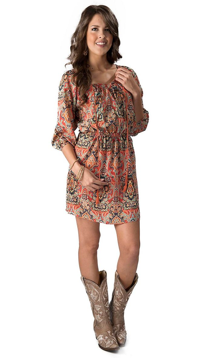 Cowgirl Justice Women 39 S Coral Aqua And Navy Paisley 3 4 Sleeve Dress Cowgirl Justice Apparel