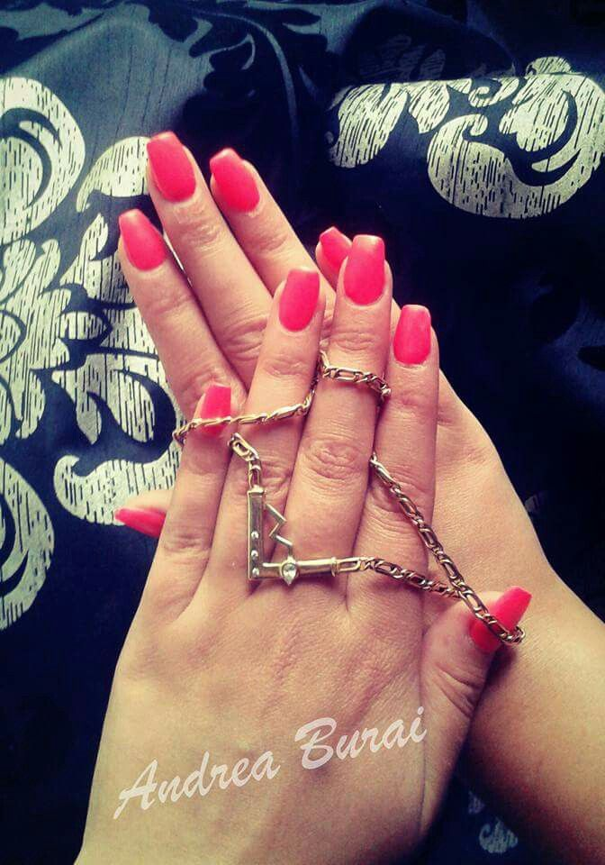 Neon red nails