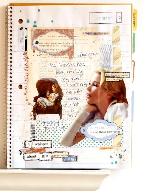 notes on paper: An Art Journal Page: from start to finish (looks like a spiral bound notebook was used)