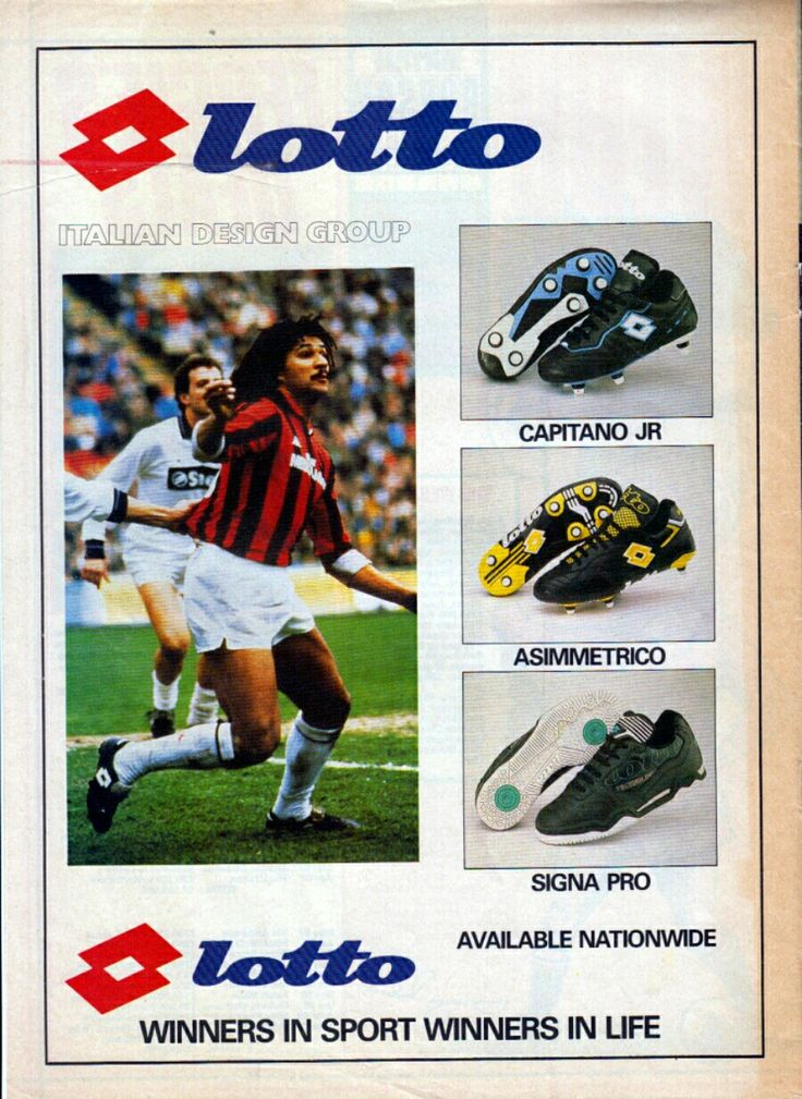 Ruud Gullit of AC Milan in 1989 advert with Lotto Football Boots.