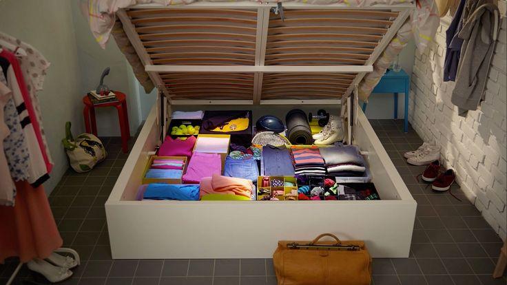 Ideaal voor een kleine slaapkamer een bed met extra opbergruimte slaapkamer pinterest tes - Loft bed met opbergruimte ...