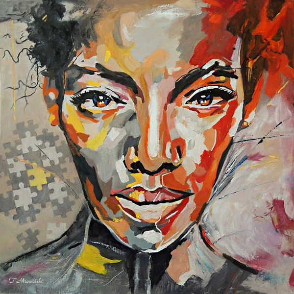 Obraz olejny, kobieta, portret nowoczesny. Autor Tomasz Mrowiński