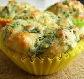 """Spinach & Sundried Tomato Muffins: """"A delightful savory muffin that makes a great snack for morning/afternoon tea or a take-and-go breakfast on the run."""" -**Jubes**"""