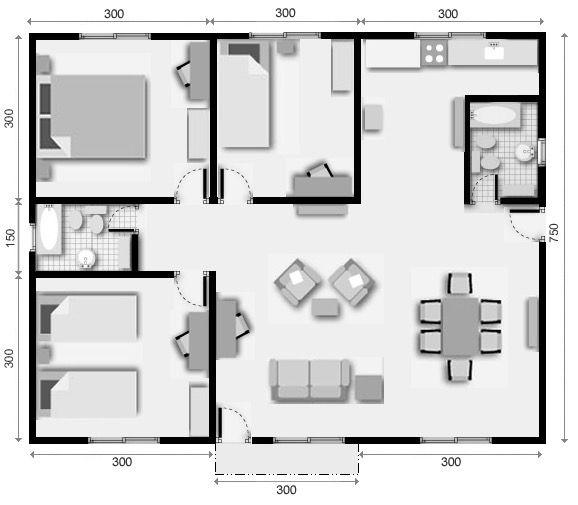 17 mejores ideas sobre planos para casas peque as en for Planos casas una planta 3 dormitorios