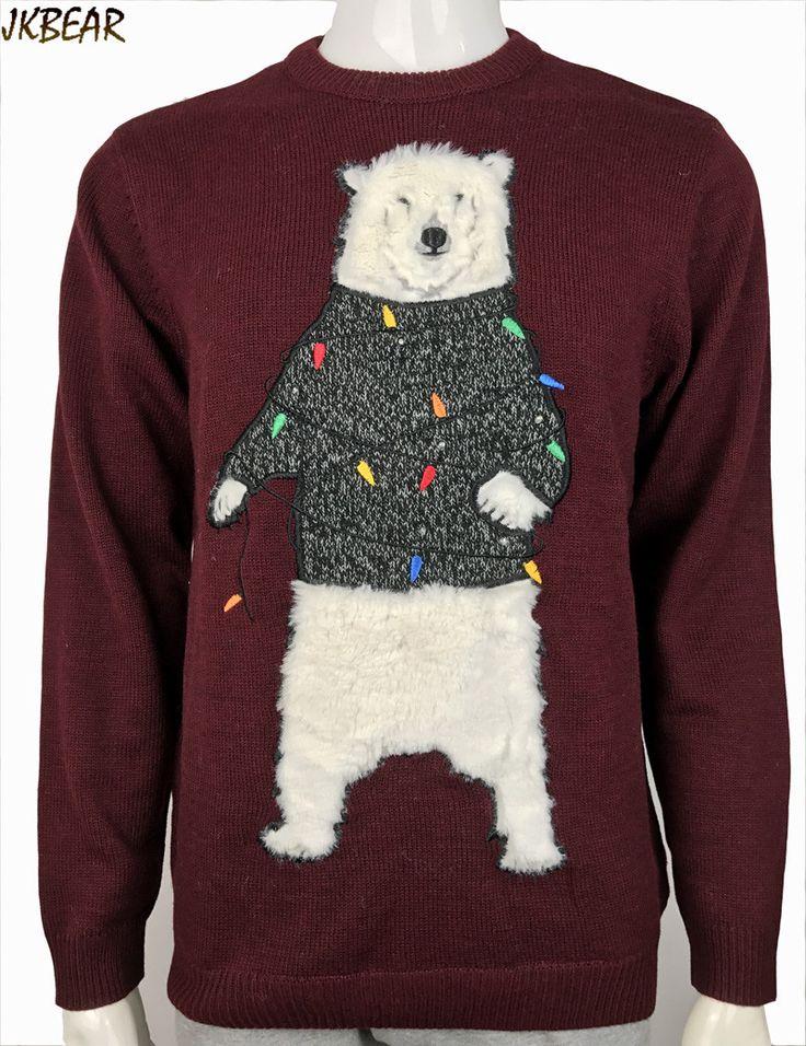 2016 Загорается Пушистый Полярный Медведь Pattern Гадкий Рождественские Свитера для Мужчин и Женщин Cute Xmas Пуловеры Наряды Плюс Размер М 2XL купить на AliExpress