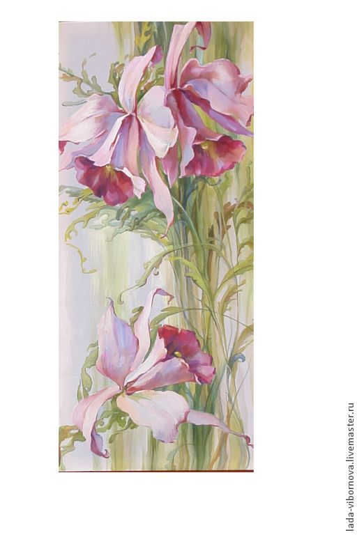 """Роспись по шелку """"Орхидеи"""". - орхидеи,розовые орхидеи,шёлк,Батик,цветы"""