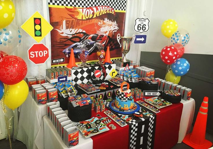 What a cool Hot Wheels birthday party! See more party ideas at CatchMyParty.com!