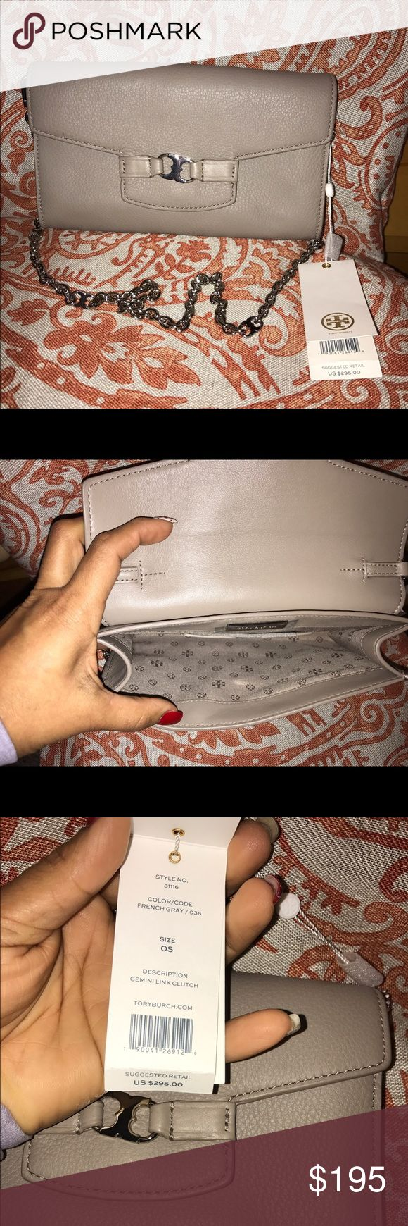 Tory Burch handbag!! Gray Tory Burch Gemini Link Clutch. Inspired by Tory Burch's twin sons and her zodiac sign, Gemini, this beautifully crafted leather clutch features an optional chain-link strap that allows you to style it as a crossbody when you're running around town. Tory Burch Bags Mini Bags