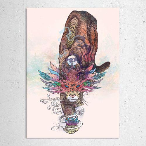 """""""Mountain Lion"""" metal poster by Mat Miller #animal"""