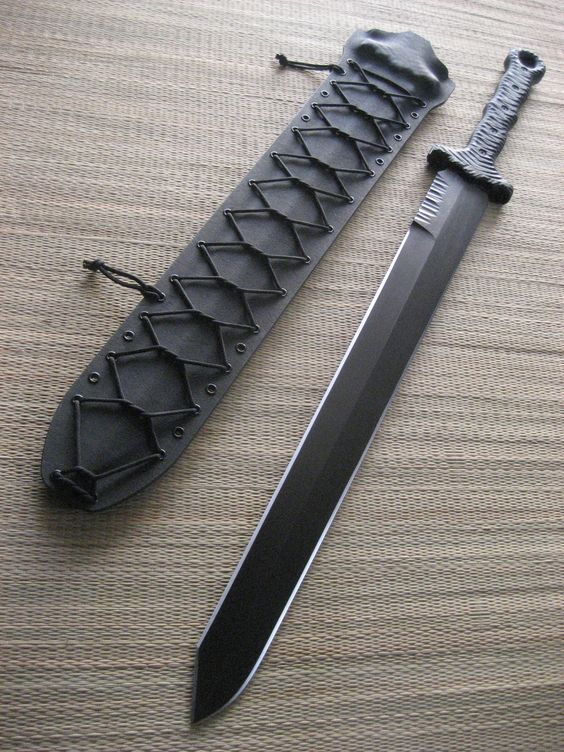 """Miller Bros. Blades Custom M-16 Tactical Sword. 24"""" Blade, Double Handed, Kydex sheath. This sword has a custom tip profile and jimping on the spine near the handle.:"""