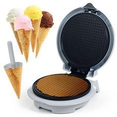 Waffle Cone Maker with Cone Form, White