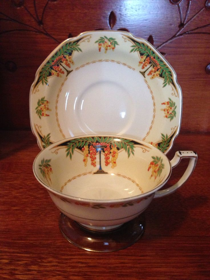 Grindall Turnstall, England. The use of the word Turnstull (the name of the town, where produced) in the logo, denotes a date prior to 1891. This cup & saucer is decorated in the Art Nouveau style, which was popular at the time. Researched Value ????