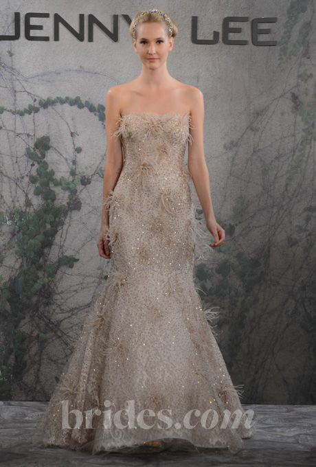 Brides.com: Jenny Lee - Fall 2013. Style 1326, strapless gold beaded tulle and Chantilly lace A-line wedding dress with feather details, Jenny Lee  See more Jenny Lee wedding dresses in our gallery.
