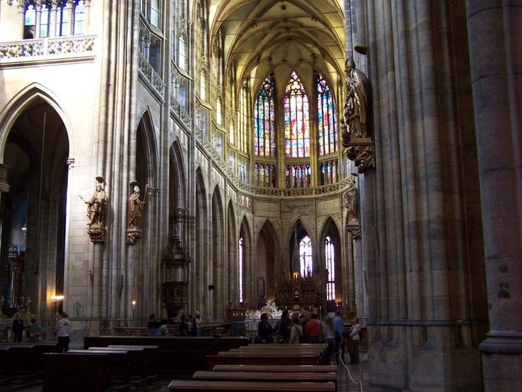 Interior of St. Vitus Cathedral in Prague, Czech Republic