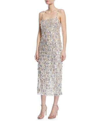 Sequined+Tier-Fringe+Midi+Cocktail+Dress+by+Monique+Lhuillier+at+Bergdorf+Goodman.