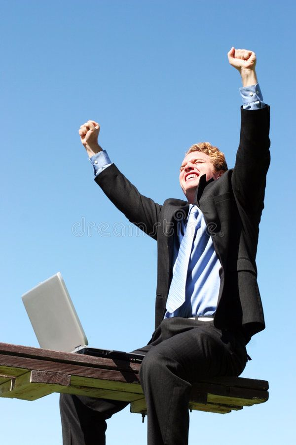 Happy Successful Businessman Business Man Holding His Hands Up