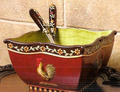 tuscan decor | Mediterranean Rooster Large Salad Bowl with Utensils