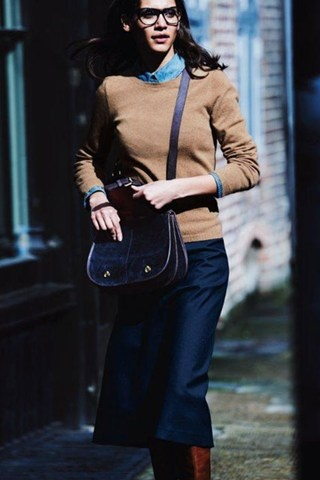 My closet Camel sweater over collared shirt with jean, pencil skirt and riding boots. Perfect